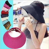 Wholesale Roll Up Visor Hat - Pretty New Fashion foldable wide brim sunbonnet roll up sun visor hat Summer Straw Sun hat beach for women multicolor YYA1099