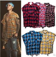 camisa sin mangas cardigan al por mayor-Justin Bieber Side Split Zip Camisa a cuadros sin mangas Marca de marea americana y americana Retro Cardigan suelto Camiseta a cuadros Adolescente Streetwear
