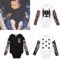 ingrosso cappuccio nero per bambini-Cool Style Neonato Toddler Bambini Baby Boy Tute Vestiti in cotone manica lunga Tatuaggi stampa tuta abiti nero