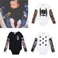 baby lila spielanzug großhandel-Cool Style Neugeborenen Kleinkind Kinder Baby Boy Bodysuit Kleidung Baumwolle Langarm Tattoos Print Overall Outfits Schwarz