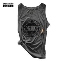Wholesale Life Size Women - Fashion Summer Women T-shirt Europe and America Mom Life Letter Printing T-shirts Sleeveless Famale Tops Tees Size 2XL 6 Colors