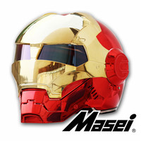 Wholesale motorcycle red chrome resale online - MASEI plating Chrome electroplate Gold Red IRONMAN Iron Man helmet motorcycle helmet half open face helmet ABS motocross
