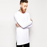 2b078b8396 New extra long tee shirt for men hip hop men's longline t shirt long sleeve  tall tees side zipper oversized t-shirt