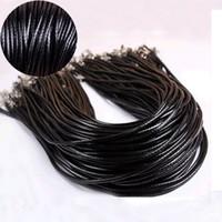 cordón de cuero trenzado 3mm al por mayor-FAMSHIN 3Pcs 3mm Cuerda trenzada trenzada cadena de cordón de cuero negro / marrón 20