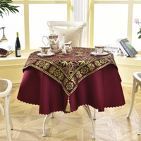 Wholesale Round Crochet Tablecloth - Latest 2 Pcs  Set Round 140cm Luxury Sequin Outdoor Table Linens Fashion Crochet Jacquard Red Wine Garden Tablecloth Decoration