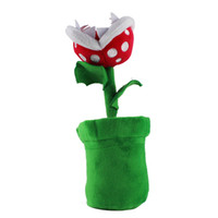 Wholesale 1PCS CM Super Mario Plush Piranha with Flowerpot toy anime dolls soft children toys for Child Gifts