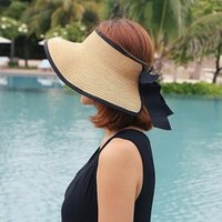 Wholesale large girls wide brim hats for sale - Group buy 2017 Fashion classic large brimmed straw hat women empty top sun hat vacation Anti UV visor chapeau femme girls foldabl