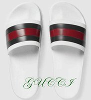 Wholesale Wholesale Rubber Flooring - Top Brand Sandals Pop Slippers White Causal Slide Red&Green Stripe Design Huaraches Flip Flops Loafers Scuffs Free DHL shipping by Shoe001