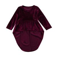 подогреватель красного вина оптовых-Infant Baby Girls Clothing Long Sleeve Dress Casual Warm Wine Red Princess Mini Cute Dresses Girl