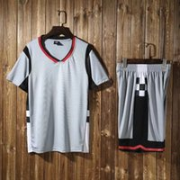 Wholesale Comfort Sets - 2018 High Quality Basketball Short Sleeve Set Gray Comfort Breathable Men's Basketball Training Set