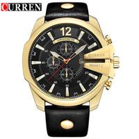 curren gold achat en gros de-Relogio Masculino CURREN Hommes Hommes Montres 8176 Top Marque De Luxe Montre Homme Quartz Or Montres Hommes Horloge Montre-Bracelet Goutte