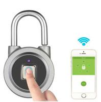 fechadura da porta de botão venda por atacado-Impressão digital Inteligente Keyless Bloqueio À Prova D 'Água APP Botão Desbloquear Senha Anti-Roubo Fechadura Da Porta Padlock para Android iOS Sistema