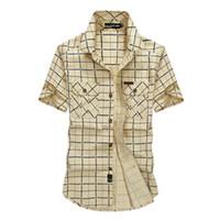 ingrosso camicie maniche corte 4xl-Plaid Loose Size 5xl Camicie da uomo Estate Afs Jeep Abbigliamento di marca Camiseta Masculina Camicia da uomo a maniche corte in cotone a quadri