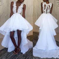 hallo niedriges strandkleid großhandel-2018 African Black Girl High Low Brautkleider Tiefer Sheer V-Ausschnitt Illusion Zurück vestidos de Brautkleider günstige Brautkleider