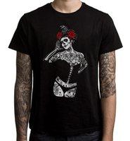 siyah şeker toptan satış-Siyah Karga Şeker Kafatası Kız erkek T-shirt - Ölülerin Ölü Dövme Burlesque Gençlik Yuvarlak Yaka Özelleştirilmiş T-Shirt Düz Renk