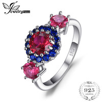 ingrosso anello rubino blu-JewelryPalace 2.5ct Creato Red Ruby Blue Spinel 3 Stone Ring 925 Sterling Silver Fashion Women Nuovo arrivo Anniversary D1892601
