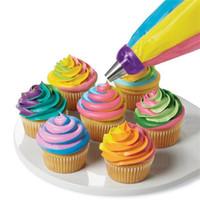 Wholesale cupcake decorating bags - Wholesale Cake tool Nozzle Converter Tri-color Cream Converter Cake Decorating Tools For Cupcake Fondant Cookie T3I0196