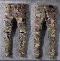ingrosso pantaloni camouflage uomini sottili-Denim Camouflage Tasche da uomo Jeans da motociclista slim Moda europea Uomo Uomo Nuovo Militare kaki Pantaloni cargo mimetico HipHop Camouflage