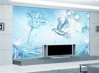 ingrosso carta da stampa d'acqua-3d moda rosa uccello acqua stile paesaggio murale carta per soggiorno camera da letto parete stampa decorativa carta da parati personalizzata