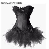 robes en tutus en corset achat en gros de-2017 Burlesque Rouge et Noir Corset Dress Costume Bustier para mujer Victorian Brocade Corset Tutu Jupe Outfit Partie Halloween