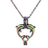 Wholesale double locket necklace resale online - C460 Rainbow Color lovely Mini Double Delphinus Beads Cage Pendant Essential Oil Diffuser Aromatherapy Pearl Cage Locket Pendant Necklace