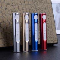 isqueiros a gás usb venda por atacado-Fábrica de alumínio-feito USB USB Eletrônico Recarregável Mais Leve Sem Chama Mais Leve Fumar Gadgets Presente moda Portátil Frete Grátis