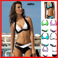 Wholesale patchwork swimwear - Sexy Patchwork Bikini Women Swimsuit 2018 Bandage Swimwear New Summer Best Soft Swimsuits Bathing Suit Black And White