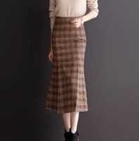 0b8745274a03 High Waisted Skirts Womens Elegant CHEAP Ladies Plaid Skirts Female Winter  Woolen England Style F489 Slimming