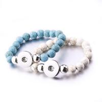 Wholesale pearl snaps - NOOSA Imitate Turquoise Pearl Beads Bracelets Female 18mm Snap Bracelets Bangles For Women Snap Buttons Bracelet