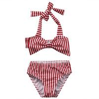 Wholesale Bathing Suit 12 - Baby Girls Red Striped Bowknot Bikini Bandage Swimsuita Kids Wears Swimsuit Bathing Suit Beach Swimming Pool Wear