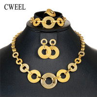 jóias para o dia do casamento venda por atacado-Cweel dubai conjuntos de jóias de ouro para as mulheres colar de jóias de casamento nupcial africano beads set jóias presente do dia dos namorados