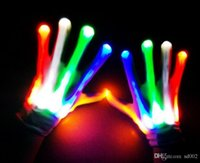 Wholesale led lights for glove resale online - Novelty Rainbow Glowing Gloves LED Light Up Stage Performance Party Dance Mittens Winter Fall For Night Club qt ii