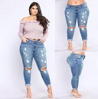 kot uzun pantolon kızları toptan satış-Yeni Kadın Sonbahar Kot Artı Boyutu Kot Nedensel Streç Denim Delik Yüksek Bel kadın Kot Baskılı Moda Kızlar Uzun Pantolon Toptan 2XL-7XL