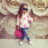 ingrosso ragazze maniche lunghe camicette bianche-2017 Toddler Girl Clothing Set Ragazze Camicetta bianca + Jeans blu Pantaloni Vestiti Stelle Stampa manica lunga Carino Suit Boutique Outfit