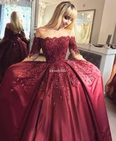 Wholesale Satin One Shoulder Tops - Top quality Satin 2018 Long Sleeve Burgundy Prom Dresses open neck Beaded Ball Gown Formal Evening Dress Gowns Lace Up Back celebrity gowns