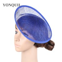 "ingrosso fascinator blu royal-2018 10 ""/ 25 CM Royal blue fascinator base wedding royal ascot partito Sinamay cappelli di fascinator base FAI DA TE accessori per capelli 12 pz / lotto SYB27"