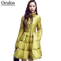 gelbe lange daunenjacke großhandel-Frauen Winter Daunenjacken warme lange schlanke Mantel und Jacke weiblich große Schaukel gelb / schwarz Damen Schnee Outwear