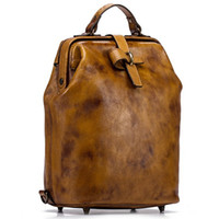 Wholesale vintage leather luggage for sale - Group buy Woman Level one Cowhide Backpack Genuine Leather Vintage Daypack Travel Casual Schoolbag Bags Brand School Laptop Bag luggage Rucksack