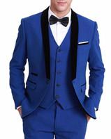 pantalón de abrigo de tres piezas formal al por mayor-Las últimas tres piezas Coat Pant Designs novio traje de hombre Royal Blue Slim Fit esmoquin formal Blazer de boda (chaqueta + pantalón + chaleco)