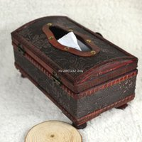 Wholesale Rectangular Retro Wooden Paper Cover Case Tissue Box Napkin Holder Home Decor CHE85