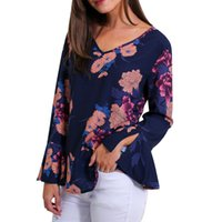 long sleeve floral chiffon shirt 2018 - MUQGEW Women Casual Blouse Shirt Floral Chiffon Print Women Holiday Floral Printing Long Sleeve V Neck Fashion Blouse Shirt Top