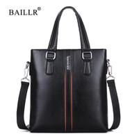 вертикальные посыльные мужские сумки оптовых-BAILLR  New Men Handbag Business vertical shoulder bag for male  pu leather Messenger Bags Casual Crossbody top-handle