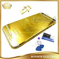 24k gold iphone fall großhandel-1 stücke 100% perfekte qualität leopard gehäuse für iphone 6 24 karat gold rückseitige abdeckung batteriefach chassis fall mit logo + kartenschale + tasten