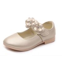 кроссовки размера принцессы оптовых-Обувь для девочек мода Принцесса плоские туфли дети кроссовки искусственная кожа цветок школа девушки платье обувь размер 26-36
