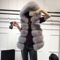 ingrosso giacche invernali senza maniche per le donne-Faux Fur Coat Inverno Donna Casual Felpe con cappuccio spesso caldo Slim senza maniche in pelliccia di volpe giacca invernale Outwear casaco feminino 6Q2396