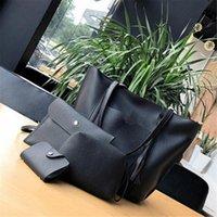 Wholesale Black Leather Hobo Purse - 4pcs Women Leather Handbag Lady Shoulder Bags Tote Purse Messenger Satchel Set