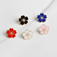 Wholesale japanese buttons wholesale - Cherry Blossoms Flower Gold silver Brooch Pins Button Pins Denim Jacket Pin Badge for Bags Japanese Style Jewelry Gift for Girls
