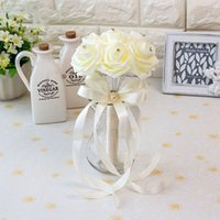 ingrosso spille perle-25 * 18cm Bridal Wedding Bouquet Spilla Colorful Wedding Decoration Artificiale Bridesmaid Flower Perle Perline Sposa Holding Fiori