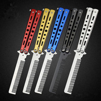 Wholesale red butterfly comb resale online - Professional Salon Butterfly Folding Combs Knife Hair Styling Stainless Steel Practice Training Style Barbershop beard comb