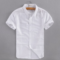leinen baumwoll-kurzarmhemd großhandel-2017 sommer neue business casual leinenhemd männer baumwolle kurzarm weiß männer hemd marke clothing herren shirts camisa masculina